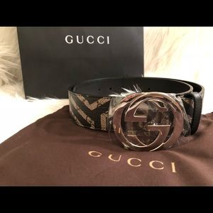 Gucci double G belt with signature brown print 85